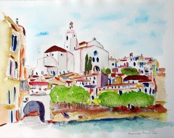 CADAQUES COSTA BRAVA Watercolor Original Unique/CADAQUES/Mediterraneo