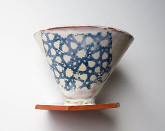 Pourover coffee dripper with Moroccan pattern- teal and cream. Made to order ceramic coffee cone. Handmade pottery for coffee brewing V60