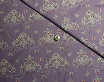 Purple kawaii Japanese cotton fabric 110x100cm, chandelier