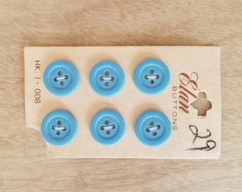 "Vintage ""Elan"" Buttons in Robins Egg Blue - 6- Original Card Made in Japan"