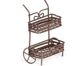 Miniatures Fairy Garden Pull Cart Rusted Metal Wire Primitive - 579