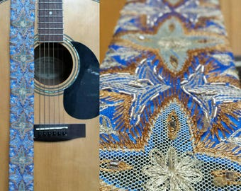 Blue and Yellow Aztec Threaded Guitar Strap; Statement Guitar Strap; Unique Guitar Straps; Handmade Straps; Gift for Her; Guitar Straps