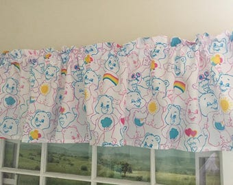 Pastel Care Bears and Rainbows Valance ~ 64 Inches Wide