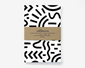 Curves & Lines Pattern Screen Printed Notebook with Blank Pages