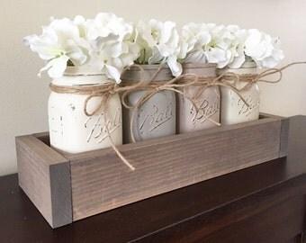 Mason jar planter box, rustic decor, farmhouse decor, mason jar centerpiece, mason jar decor