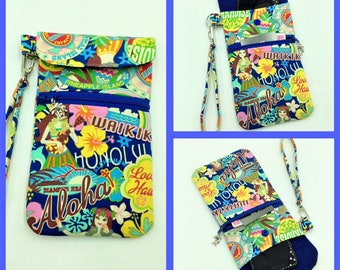 Cell phone Wristlet, Phone Wristlet, iPhone Case, Credit Card Holder, Tropical Wristlet, Travel Bag in Love Hawaii- Made in Maui