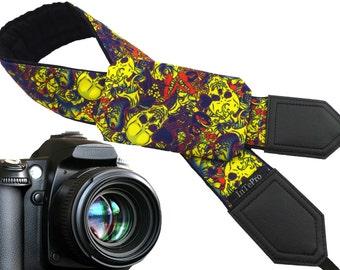Sugar skulls camera strap with pocket. Skulls. Butterflies. Carps. Ultra yellow DSLR camera strap. Teens gift. Personalized camera strap