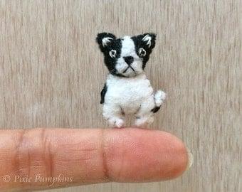 Felted Miniature Boston Terrier, Tiny Boston Terrier Dog Plush Toy, Miniature Felt Boston Terrier, Tiny Boston Terrier, Felt Stuffed Animal