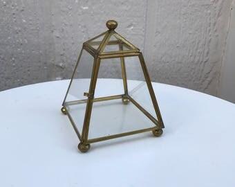 Vintage Geometric Brass and Glass Display Case, Glass Pyramid/Obelisk Terrarium