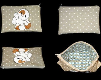 clutch bag embroidered and zippered dog (customizable)