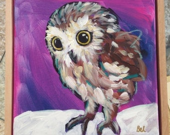 Art Print 8x8, Solstice, the Saw Whet Owl.