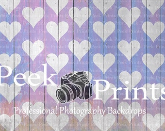 "Gray Wood Vinyl Backdrop 6ft.x4ft. Valentines Day Photo Backgrounds Floor Drop ""Reverse Electric Purple Hearts"""