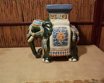 Small Vintage Vietnamese Ceramic Elephant Stand