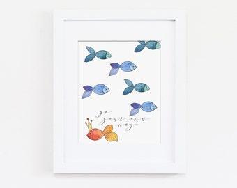 Go Your Own Way Nursery Art Print, Don't Follow, Be A Leader, Nautical Nursery, Fish Art Print, Motivational Art, Instant Download