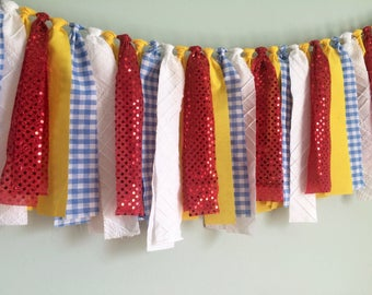 Wizard of Oz Tie Garland, Banner, Bunting, Backdrop, Streamer, Cake Smash, Photo Prop