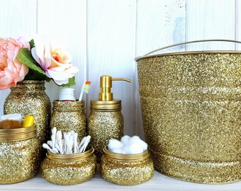 7 piece Gold glitter bathroom set. Mason Jar Bathroom Set.