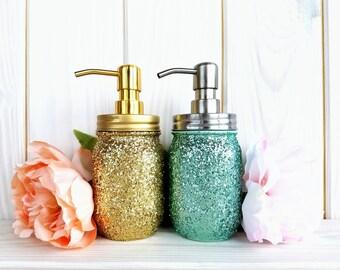 Glitter Soap Dispenser. Pint mason jar soap dispenser. Mason Jar Bathroom Set. Rust Proof.