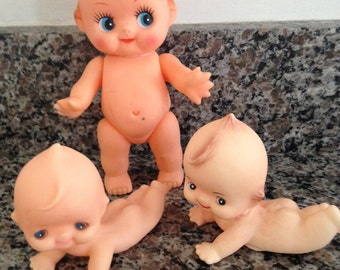 Vintage Kewpie Big Eyed Doll with Two Smaller Kewpie Stryle Crawling Babies