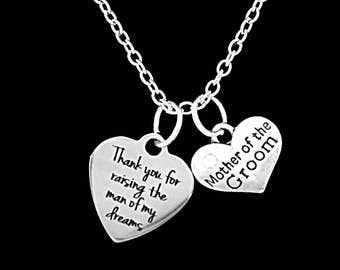 Mother Of The Groom Gift, Thank You For Raising The Man Of My Dreams Necklace, Mother In Law Wedding Party Gift Necklace