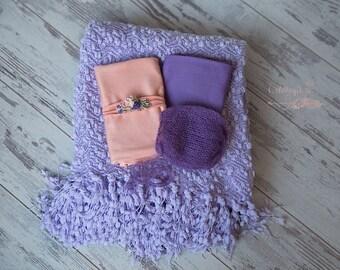 Lilac Popcorn Backdrop Blanket * BUNDLE * Peach Lilac Wraps * Newborn Posing Blanket * Beanbag Posing Fabric  * Photo Prop *