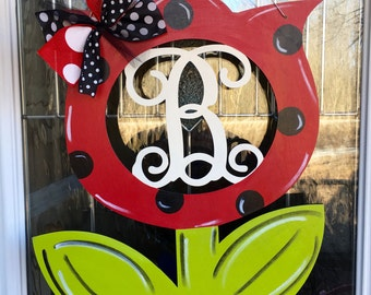 Monogram flower door hanger, flower door hanger, spring door hanger, door hanger, spring door decor, monogram door hanger