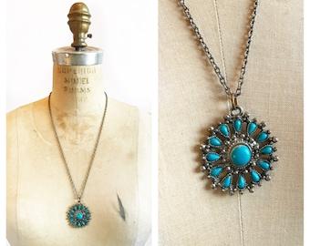 Bohemian southwestern faux turquoise petite point pendant necklace.