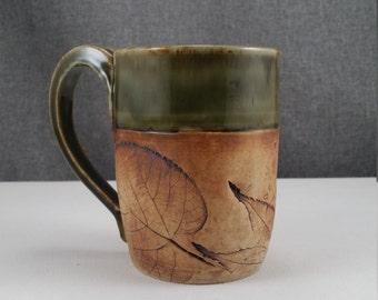 Made to Order** Handcrafted Ceramic Mugs, Handmade Pottery Mug, Porcelain/Stoneware - Light Honey Green - Leafs