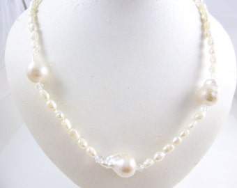Freshwater Pearl Necklace, Pearl Necklace, Rice Pearl Necklace, Baroque Pearl Necklace