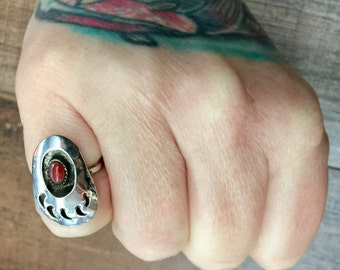 Native American Red Coral Bear Claw Sterling Silver Ring Size 4.5