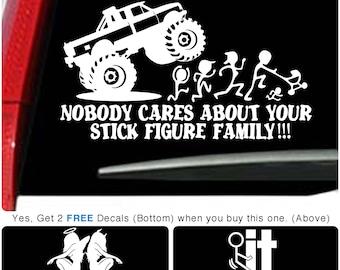 Stick Figure Family Run vinyl Truck Car Angel Devil Window Art Sticker Decal 002