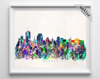 Quebec Skyline, Print, Canada Cityscape, City Skyline, Watercolor Art, City Poster, Wall Art, Wall Decor, Home Decor, Dorm Decor