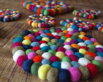 Felt ball coasters coasters-pot trivet felt ball - wool felt - glass coasters round