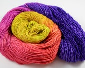 It's 5 O'Clock Somewhere!  - Fingering Yarn READY TO SHIP 100g 400y 95/5 Sw Merino Stellina  - Yellow, chartreuse, purples, pinks