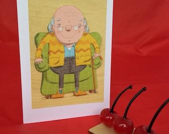 Grandpa, grandfather, older gentleman, birthday card Father's Day card