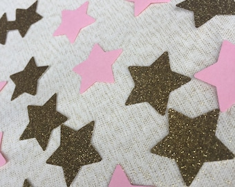 Pink and Gold Glitter Star Confetti, 50 pieces, Twinkle Twinkle Little Star First Birthday, 1st Birthday Confetti