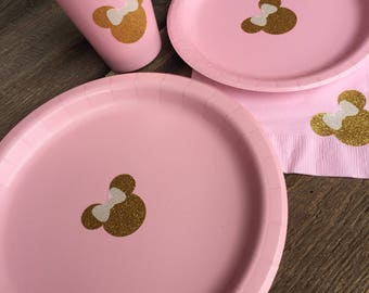 Minnie Mouse Party, Minnie Mouse Cups, Plates, Napkins, Minnie Gold Glitter, Minnie Baby Shower, Pink and Gold Party
