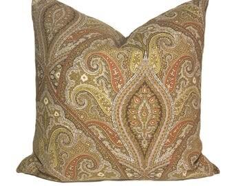 Brown pillow cover, Brown accent pillow, Throw pillow, Decorative pillow, Cushion, Sham, Paisley pillow, 18x18, 20x20, 22x22, 24x24, 26x26