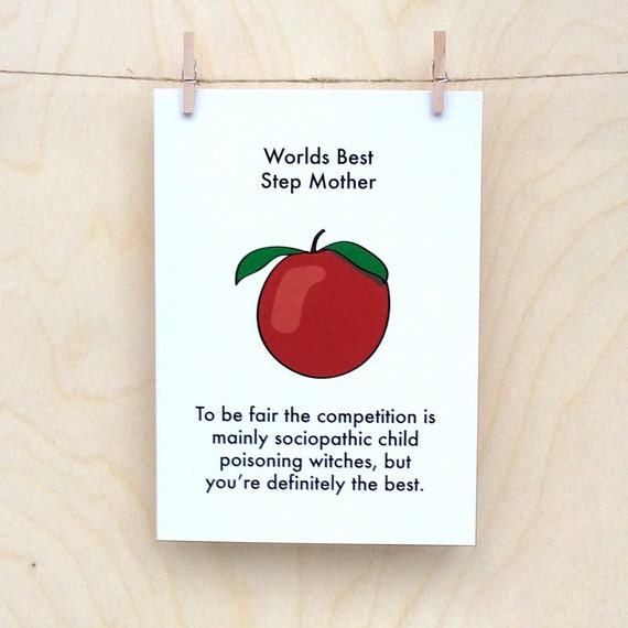 Funny mothers day card, funny card, funny step mother card