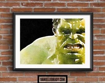 The Hulk Digital Art Watercolour Printable Art Downloadable Print