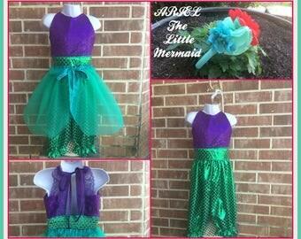 Ariel, Little  Mermaid, Mermaid Princess inspired costume romper, Ariel Romper