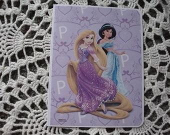 Disney Princess Card, Rapunzel, Jasmine, purple, for girls, birthday, handmade, A2, glitter, greeting card