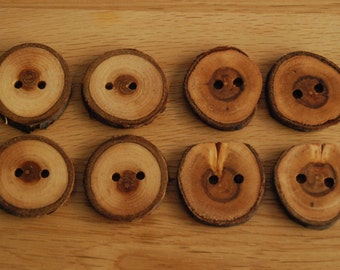 8 Handmade Mixed Wooden Buttons 30-35mm Tree Branch Buttons Sewing Knitting Craft UK Seller