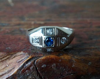1930s 14K Vintage 5 Stone Diamond and Synthetic Sapphire Ring in White Gold