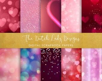 Digital Scrapbook Paper - Valentine & Love Bokeh Style - 10 Papers in .JPEG File - INSTANT DOWNLOAD