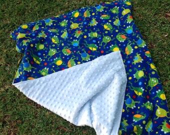Minky baby blanket. Frog print.