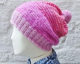 Pink Stripe Alpaca Slouchy Pom-Pom Beanie Hat - READY TO SHIP