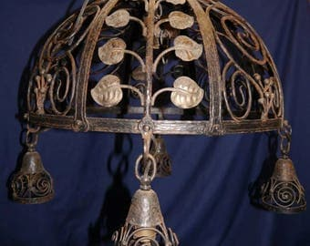 Hand Made Wrought Iron & Bronze Hanging Lamp  chandelier light Fixture 5 Lights FRENCH?