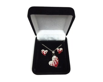 Preciosa Red White Crystal Valentine Heart Necklace Earring Set Sterling Silver