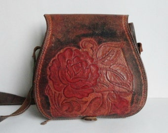 Unique 70s Vintage Tooled Leather Bag // Rose Pattern // Shoulder Bag // Crossbody Bag