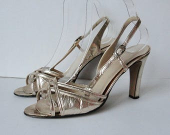 70s Vintage Gold Pumps // High Heeled Slingback // Size 39